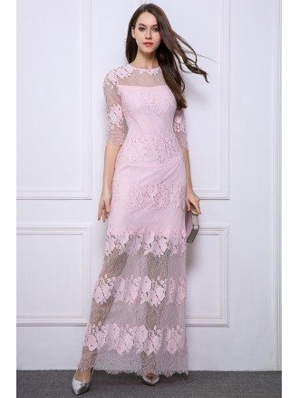 Feminine A-Line Lace Long Prom Dress With Sleeves