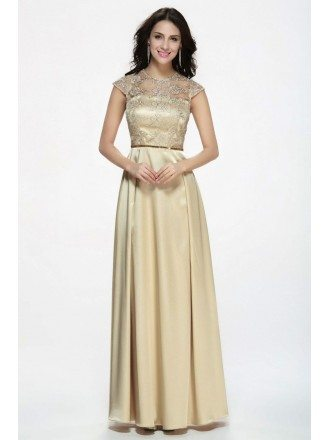 Elegant Gothic Champagne Long Satin Evening Dress with Lace Bodice