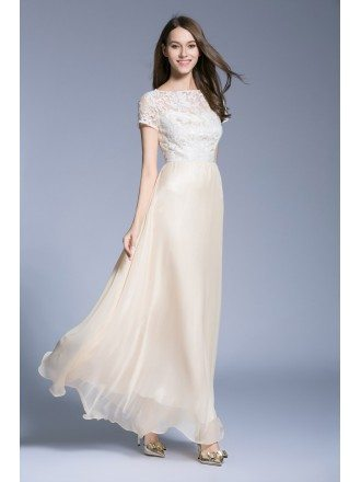 Feminine A-Line Lace Organza Long Prom Dress With Short Sleeves