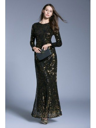Chic Sheath Sequined Evening Dresses With Long Sleeves