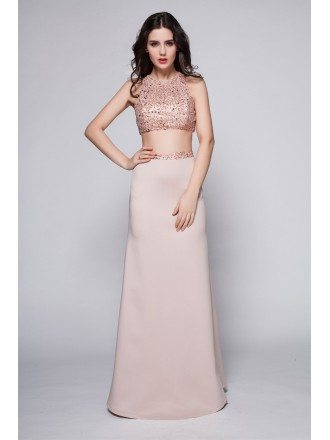 Sexy Pink Sequined Long Dance Party Dress