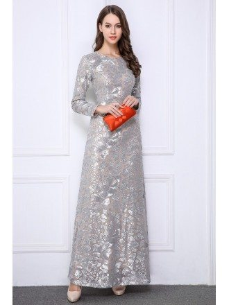 Sparkled Sequined Long Prom Dress With Long Sleeves