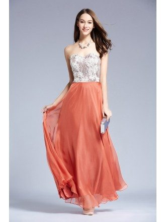 Feminine A-Line Sweetheart Chiffon Prom Dress With Appliques Lace