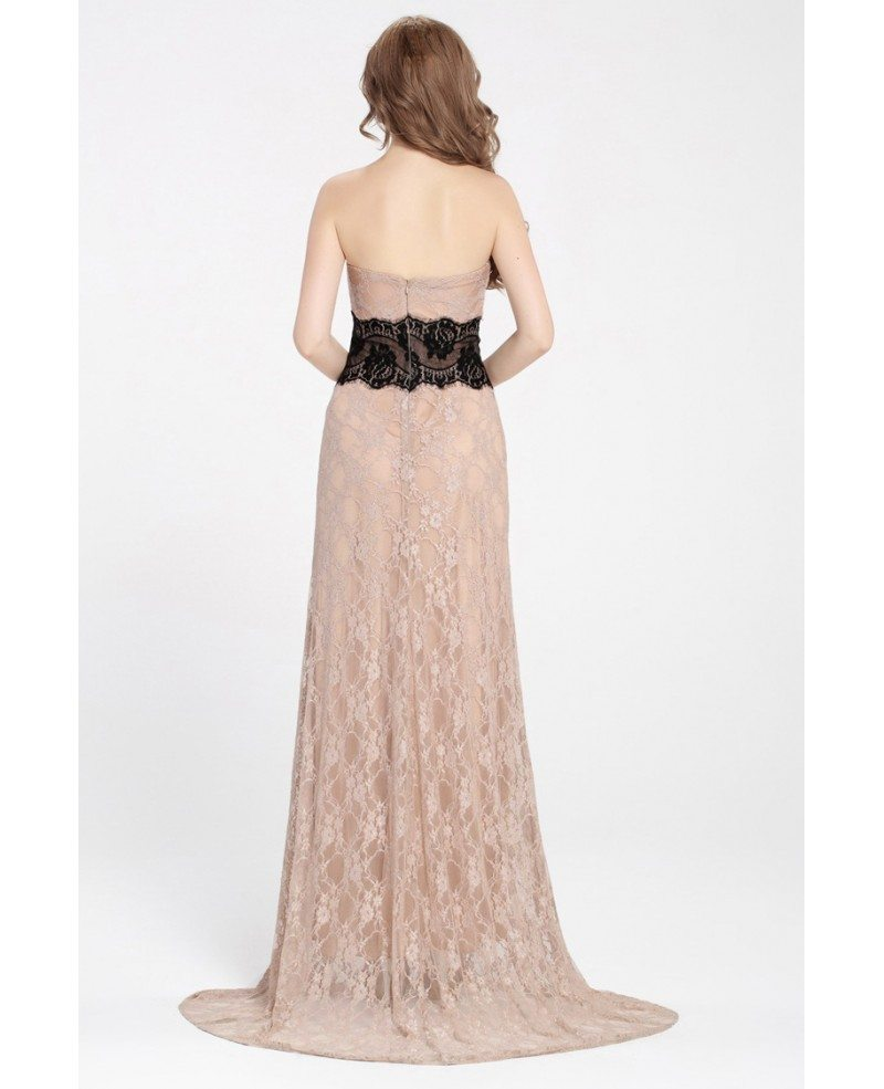 Nude Lace Long Evening Dress With Black Sash Ck365 841 -1060