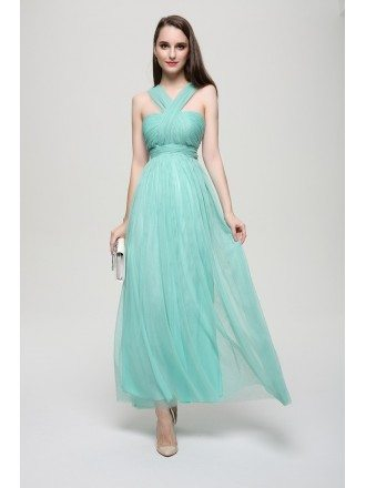 Modest Empire Y-neck Tulle Long Bridesmaid Dress