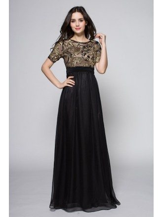 Black Gold Sequined Short Sleeve Chiffon Formal Dress