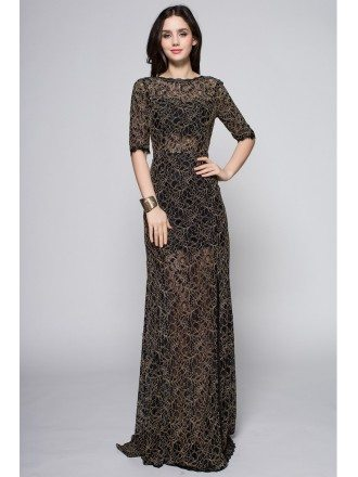 Sexy Transparent Lace Half Sleeved Long Dress