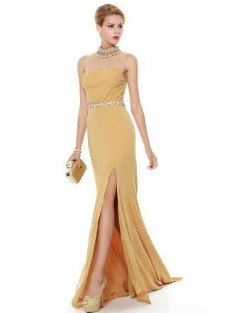 Elegant High Neck Cotton Long Eveing Dress With Beading Split