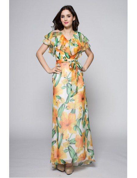 Flowing Chiffon Bohemia Pinted Long Dress Summer Holiday