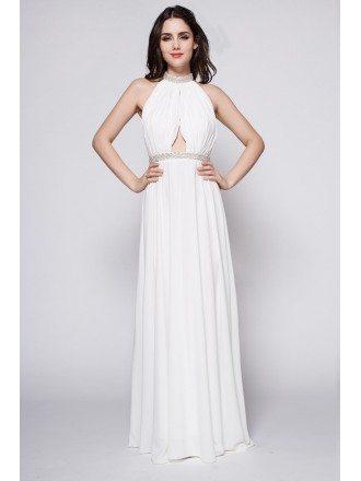 Halter Long Open Back White Goddess Formal Dress