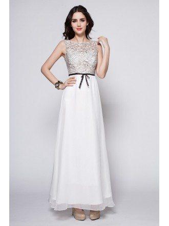 Elegant Summer Long White Lace Top Dress for Wedding
