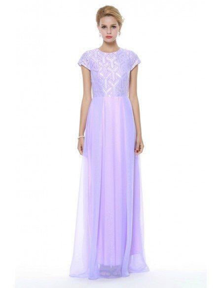 Lilac Chiffon Short Sleeved Homecoming Dress Long