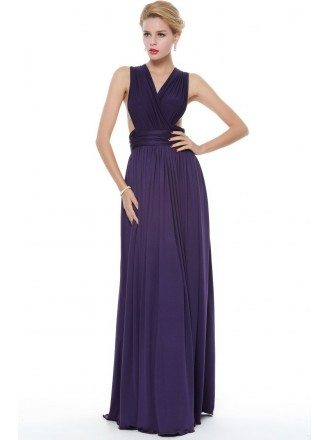 Sexy V-neck Chiffon Long Evening Dress With Cape Sleeves