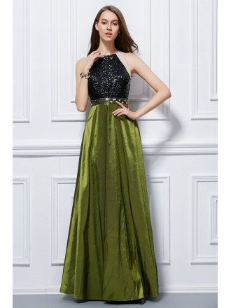 Chic A-Line Taffeta Long Prom Dress With Sequines