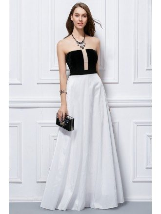 Chic Strapless Black and White Polyster Evening Dress