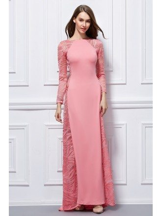 Elegant A-Line Cotton Evening Dress With Long Sleeves