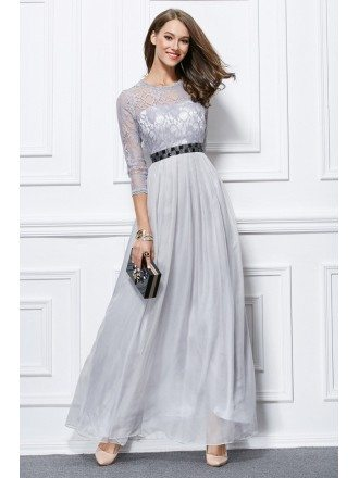 Elegant A-Line Chiffon Lace Long Formal Dress With Sleeves