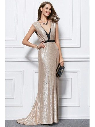 Gorgeous A-Line V-neck Sequined Sweep Train Evening Dress