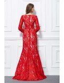 Elegant Mermaid Lace Sweep Train Formal Dress With Long Sleeves