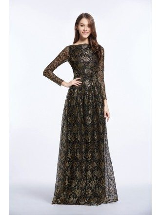 Elegant Black Embroided Long Formal Dress With Long Sleeves