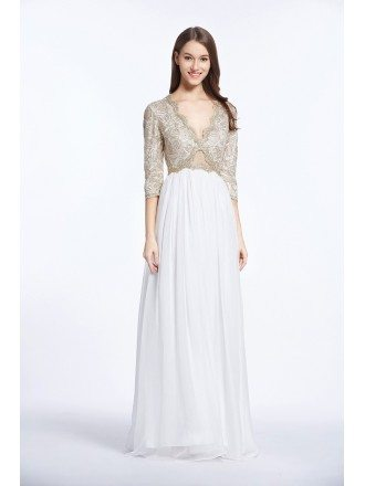 Stylish A-Line V-neck Embroided Chiffon Long Prom Dress With Sleeves
