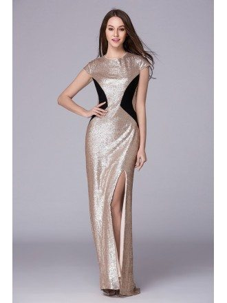 Chic Sheath Sequined Long Prom Dress With Front Split