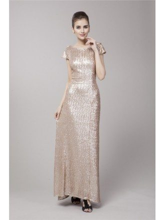 Gorgeous A-Line Sequined Long Evening Dress