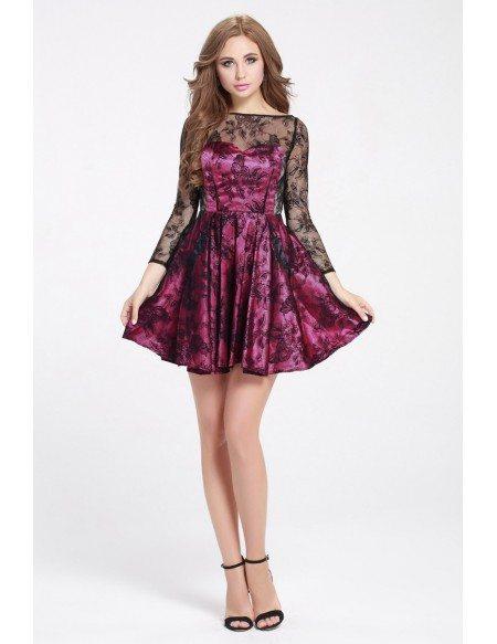 Purple and Black Lace 3/4 Sleeve Short Dress
