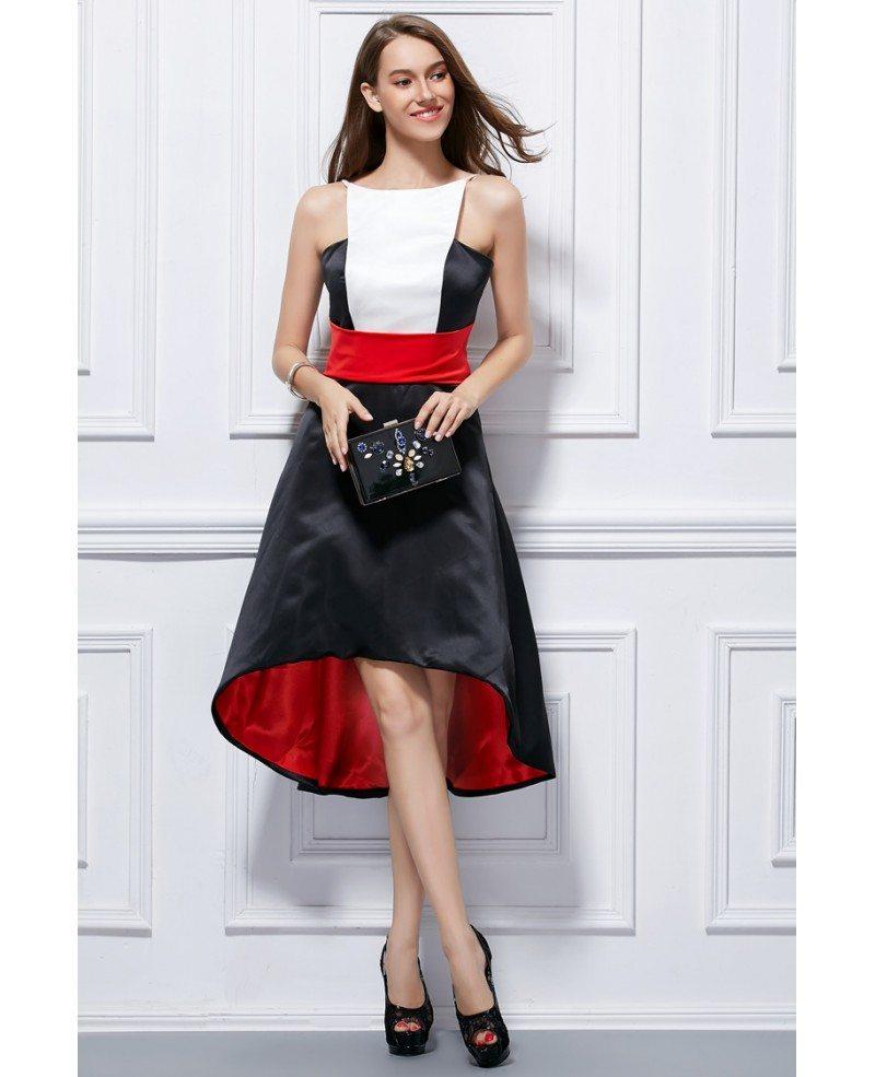 Chic High Low Satin Wedding Guest Dress DK20 $20.20   GemGrace.com