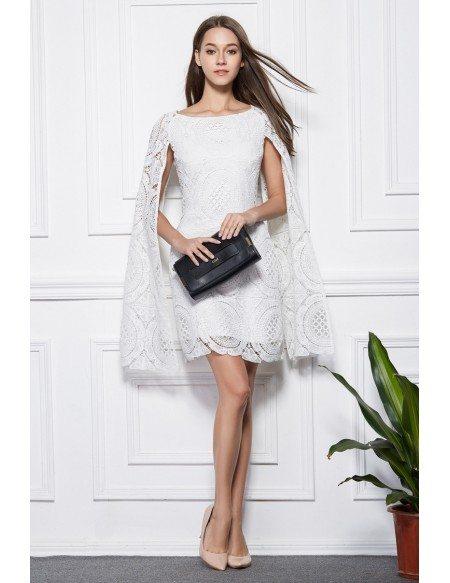 Fashionale A-Line White Lace Short Wedding Party Dress