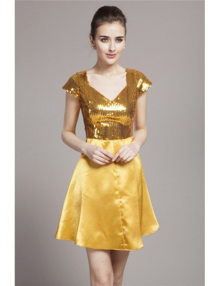 Sparkly Short Chiffon Sequin Homecoming Party Dresses