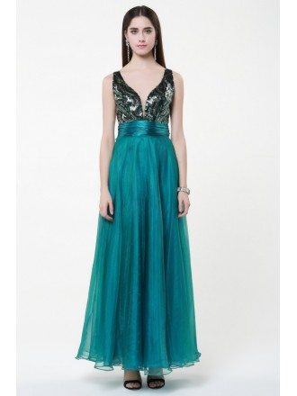 Sexy A-Line V-neck Tulle Ankel-Length Dress With Beading