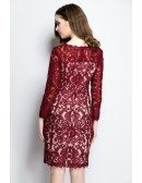 Elegant Lace Short Dress with Long Sleeves