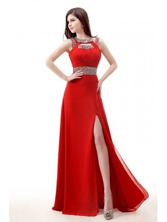 Sequined Neckline Empire Waist Split Front Chiffon Prom Dress