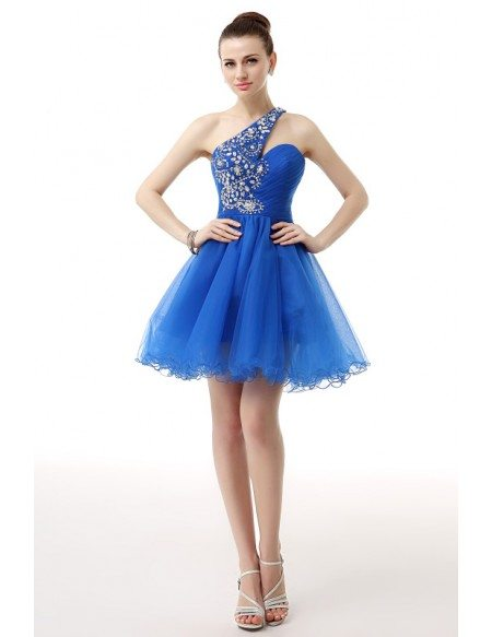 A-Line One Shoulder Short Tulle Prom Dress With Beading