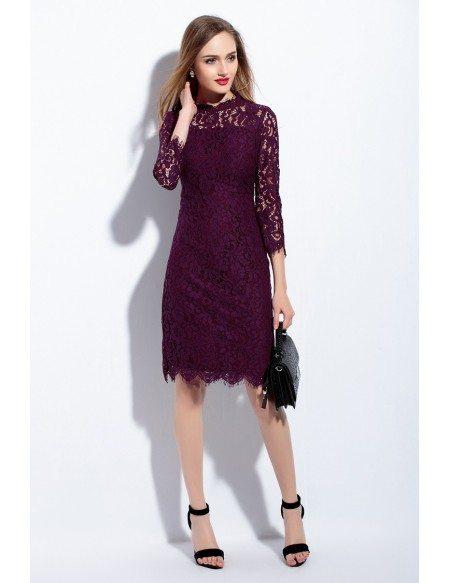 Full Lace Bodice Short Dress 3/4 Sleeve