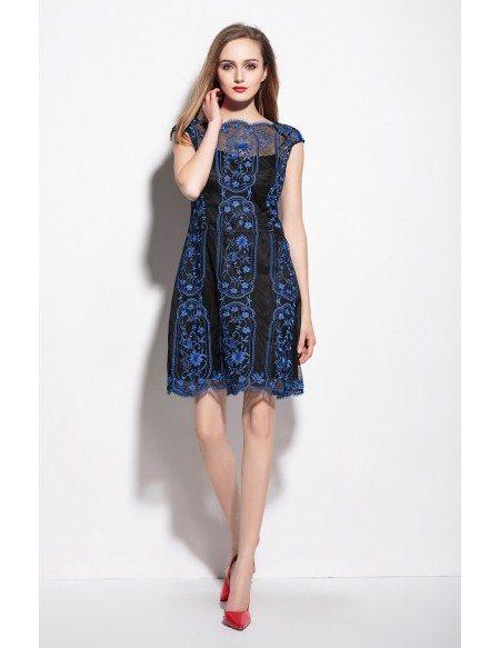 Vintage Lace Pattern Cap Sleeve Short Dress