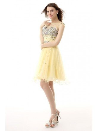 A-Line Scoop Neck Short Tulle Prom Dress With Beading