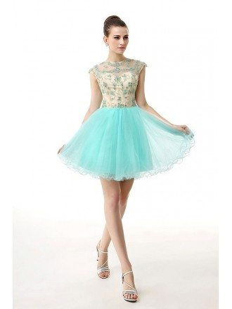 A-Line Scoop Neck Short Tulle Prom Dress With Beading Appliquer Lace