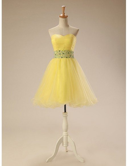 A-Line Sweetheart Short Tulle Prom Dress With Beading