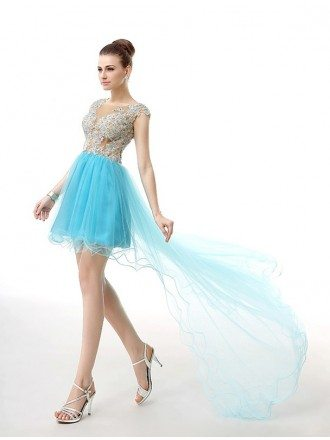 A-Line Scoop Neck Short Tulle Dress With Beading Appliquer Lace