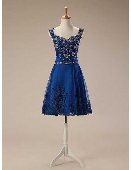 A-Line Sweetheart Short Tulle Prom Dress With Beading Appliquer Lace