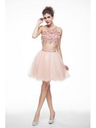 Two-Pieces Halter Short Tulle Prom Dress With Beading