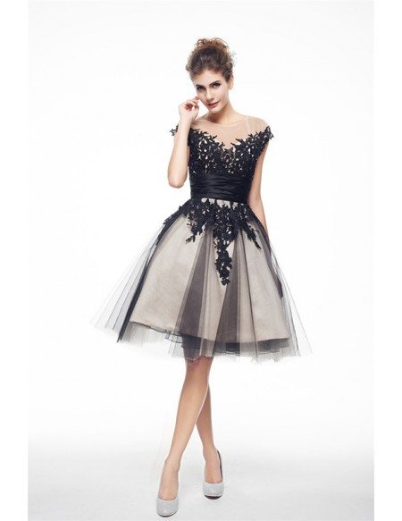 A-Line Scoop Neck Short Tulle Prom Dress With Appliquer Lace