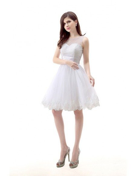 A-Line Scoop Neck Short Tulle Prom Dress With Pearl Appliquer Lace