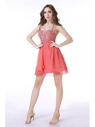 A-Line Halter Short Tulle Prom Dress With Beading