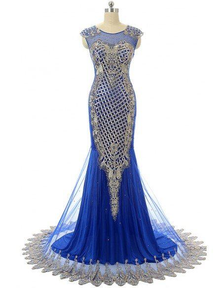 Mermaid Scoop Sweep-train Prom Dress with Beeding