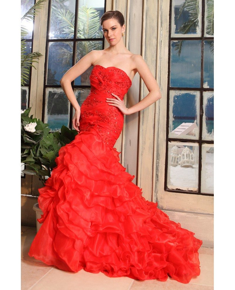 Red Mermaid Sweetheart Sweep Train Tulle Wedding Dress With
