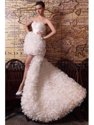 Sheath Sweetheart Asymmetrical Detachable Wedding Dress With Cascading Ruffle