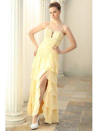 Sheath Square Neckline Chiffon Floor-length Prom Dresses With Beading Split